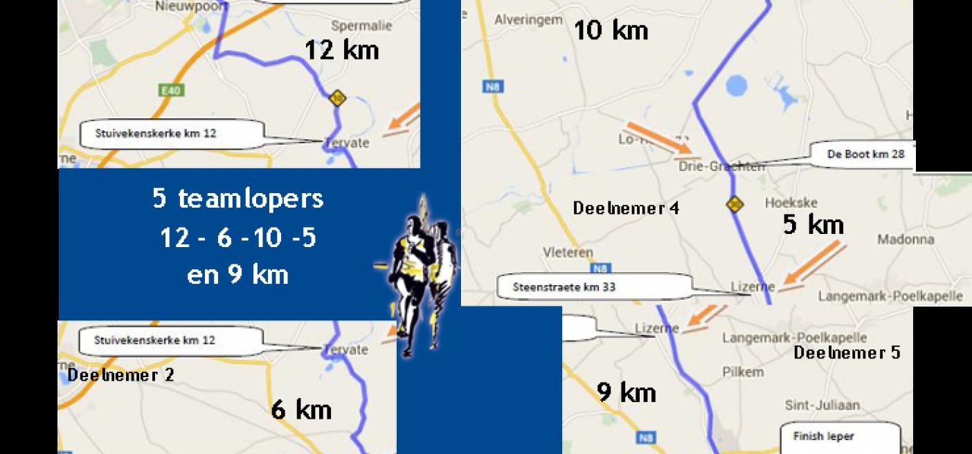 info parcours estafette, 12, 6, 10, 5 en 9 km